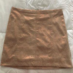 Rose Gold Vegan Suede Free People Mini Skirt